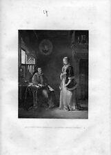 Stampa antica LA LETTERA D' AMORE SCOPERTA 1852 Old Print Engraving
