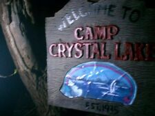 """PLASTIC FRIDAY THE 13TH """"Welcome to camp crystal lake"""" SIGN 10INCHES (*1 left***"""