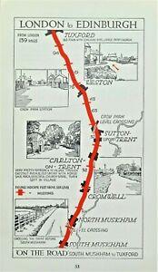 TUXFORD,CROMWELL,NORTH MUSKHAM, WESTON Original Antique Pictorial Road Map c1920