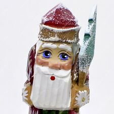 SANTA CLAUS STATUETTE CHRISTMAS RUSSIAN FATHER FROST HAND CARVED WOODEN FIGURE