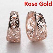 1Pair Hollow Out Women Hoop Earring Ear Stud Carved Flower Silver Plated