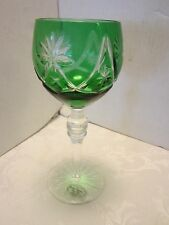 GREEN CASED CUT TO CLEAR CRYSTAL WINE GOBLET GLASS HUNGARY PBO 24% GLASS