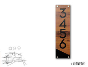 Modern House Numbers, Red Oak Alucobond with Black Acrylic Vertical 4 - Plaque