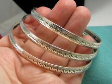 Estate Vintage Sterling Silver DANECRAFT Set of 3 Greek Key Bangle Bracelets