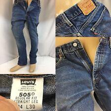 Levi's 505 Jeans 34x28 Dark Wash Selvedge Small E Made In USA YGI 8543