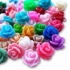 10mm Lucite Flower RESIN ROSE BUD Cabochon Flatback Embellishment DIY Jewellery