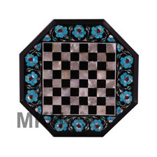 Handmade Chess Table Made with Black Marble Turquoise And Mother Of Pearl Inlay