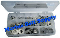 """Stainless Steel Flat Washer Assortment Kit (Sizes #4 to 1/2"""") Marine Bolt Supply"""
