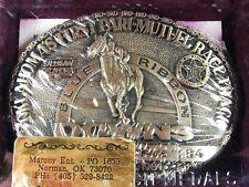 MIB 1984 Blue Ribbon Downs Raceway Sallisaw Oklahoma Brass Belt Buckle 5416