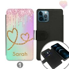 Personalised Leather Flip Stand Wallet Case For Apple Samsung Huawei iPhone 249