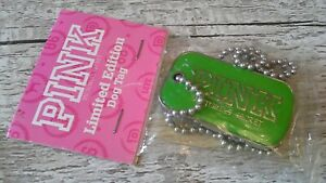 VICTORIAS SECRET PINK-GREEN SILVER TONED DOG TAG AND CHAIN