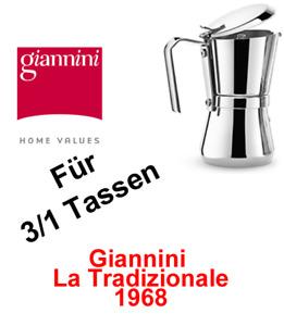 Giannini, Espressokocher 3/1 Giannina,Herd Mokkakanne;Kaffee,Tradizionale,Kaffee