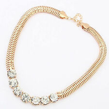 New Diamante Rhinestone Gold Crystal Collar Chain Necklace Women Girl Gift