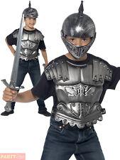 Childs Medieval Helmet Body Armour + Sword Warrior Soldier Fancy Dress Accessory