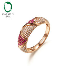 Caimao 14K Rose Gold 0.38Ct Pink Sapphire Anniversary Ancient H Si1 Diamond Ring