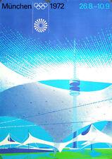 MUNICH 1972 OLYMPICS STADIUM A1 23x33.5 poster OTL AICHER art RARE VINTAGE NM