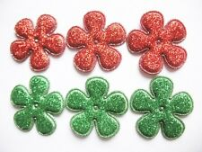 "50 Glitter 1"" Flower Padded Applique Hair Xmas-2 Colors AF006"