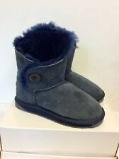 EMU BLUE MELBA SHEEPSKIN FUR LINED ANKLE BOOTS SIZE 3/36