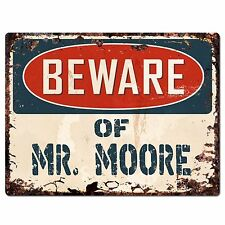 PP1432 Beware of MR.MOORE Plate Chic Sign Home Store Wall Decor Funny Gift