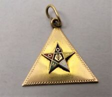 Vtg 14K Yellow Gold Order of the Eastern Star Pendant Charm Masonic Enamel Mason