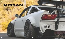 White Nissan 240sx 3'X5' VINYL BANNER GARAGE TURBO STANCED JDM WIDE BODY BRIDE