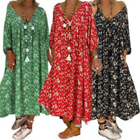 Womens Floral Printed V-Neck Long Sleeve Maxi Dress Ladies Loose Summer Sundress