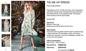 Trelise Cooper Curate tie me up dress sz M NWT $307