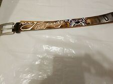 Ed Hardy Leather Belt Handmade Embroidered sz M BullDog Fangs