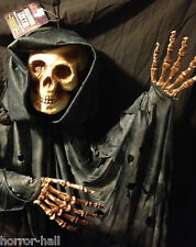 LifeSize BLACK HOODED GRIM REAPER SKELETON Zombie Pirate Haunted Prop Decoration
