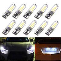 10Pcs T10 194 168 W5W COB LED CANBUS Silica Bright Glass License Light Bulbs New