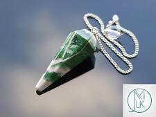 Green Zebra punto de piedras preciosas de Ágata Péndulo Radiestesia Cristal Adivino Chakra Curación