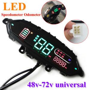 Electric Bicycle Scooter LED Speedometer Meter Odometer Speed Display 48V-72V
