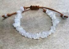 Rainbow Moonstone Beaded Bracelet Gemstone Cord Stacking Friendship Adjustable