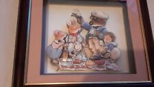 Childrens   framed  3 D   picnic scene   ideal for nursery