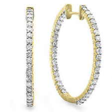 0.90 Carat (ctw) 14k Yellow Gold Round Diamond Ladies In and Out Hoop Earrings