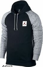Nike Jordan Retro 4 Speckled Pullover Mens Hoodie L Black Gray Cement Casual New