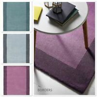 ORIGIN BORDERS CONTEMPORARY PURE NEW WOOL RUG IN MAUVE, DUCK EGG & GREY