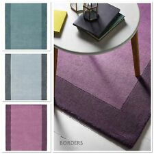 Origin Borders Contemporary Hand Tufted Wool Rug , Purple, Duck Egg, Grey 3 size