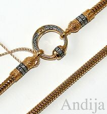 """ROUND CHAIN W/CONNECTOR RUSSIAN ORTHODOX STERLING SILVER 925+999 GOLD 60cm 23,6"""""""