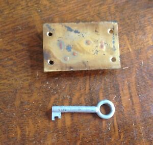 2 LEVER BRASS DRAWER/CABINET LOCK AND KEY ( New Old Stock)