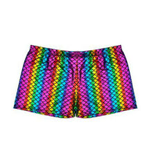 80's Fancy Dress Men's Retro Style Rainbow Scale Hot Pants