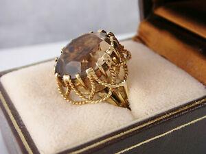 Fancy Vintage Retro 14K Yellow Gold Smoky Quartz Ring sz 7 - 6.6gr
