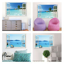 3D Beach Window View Removable Wall Art Sticker Vinyl Decal Home Bedroom Decor