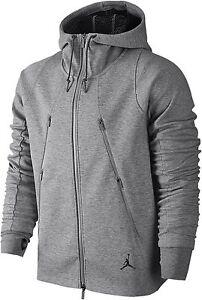 Men's Air Jordan Full Zip Tech Fleece Hoodie Jacket, 688990 063 Size M Grey