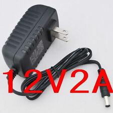 AC 100V-240V Converter Adapter DC 12V 2A Power Supply US plug 5.5mm 2000mA 24W