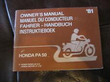 Manuale Conducente OWNER'S MANUAL HONDA PA 50 - 1981
