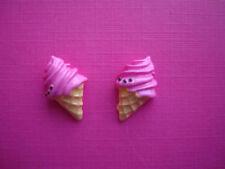Funky Rosa Whippy Ice Cream Aretes Cute Kitsch Con Dibujo Kawaii de estilo retro Candy Waffle Cone