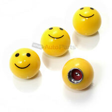 (4) car truck bike yellow SMILE FACE BALL Smiley tire/wheel air valve stem CAPS