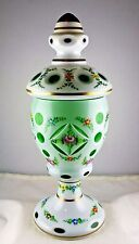 Bohemian White Cut to Green Glass Hand Painted Floral Urn Shaped Vase Candy Dish