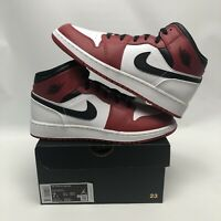 "Nike Air Jordan 1 Mid ""Chicago"" GS White Gym Red Black (554725-173) Size 7Y"